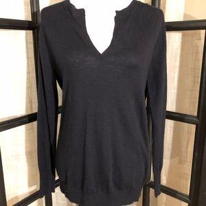 Ann Taylor navy high-low splitback sweater w panel
